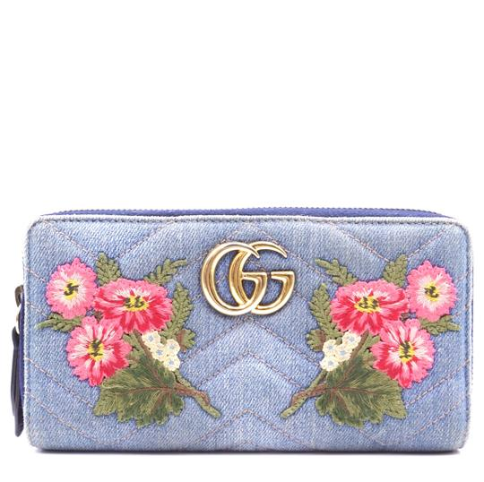 f64ee1fd5726 Gucci Marmont GG Floral Embroidered Continental quilted denim zippy wallet  Image 0 ...
