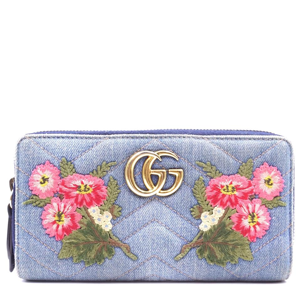 6f797d92271107 Gucci Marmont GG Floral Embroidered Continental quilted denim zippy wallet  Image 0 ...