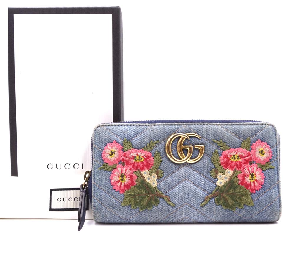 cc46be8693476b Gucci #29010 Blue Zippy Marmont Gg Floral Embroidered Continental ...