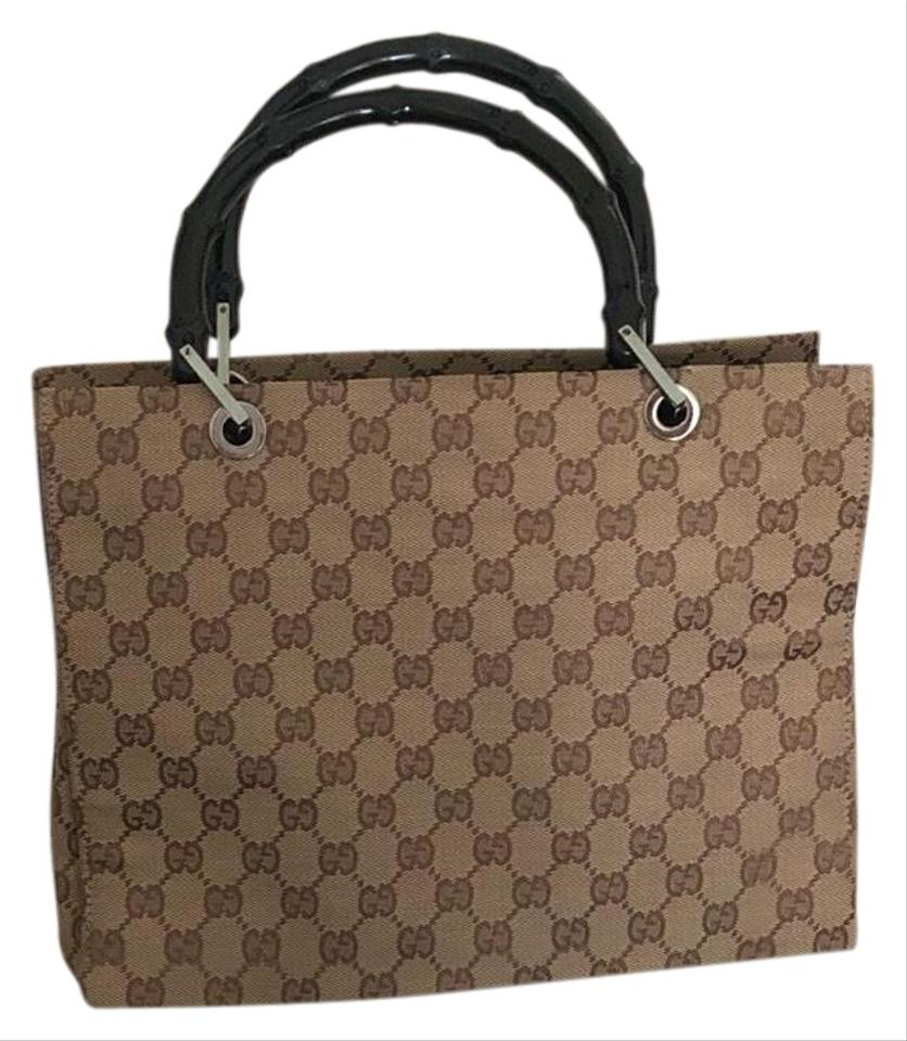 832c45b5af36 Gucci Tote in Brown Gucci Monogram Canvas with Black Top Handle Image 0 ...