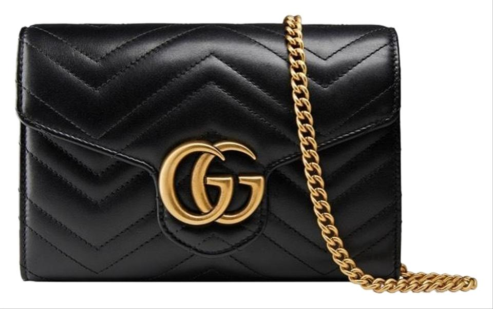 8a3e508525c Gucci Marmont Gg Chevron Quilted Flap Wallet On A Chain Leather ...