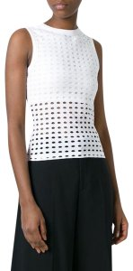 Alexander Wang T Sleeveless Perforated Top White