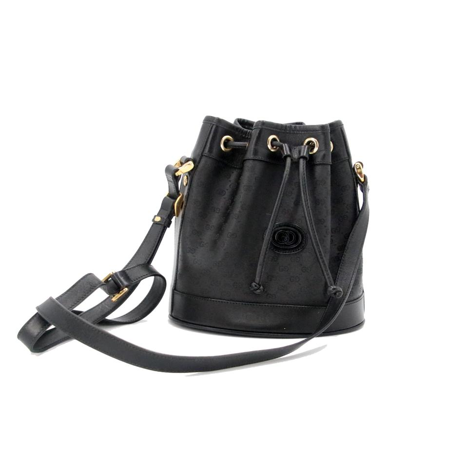 5ea2ad8cbbc Gucci Gg Microguccissima Coated Canvas Drawstring Bucket Small Black  Leather Cross Body Bag