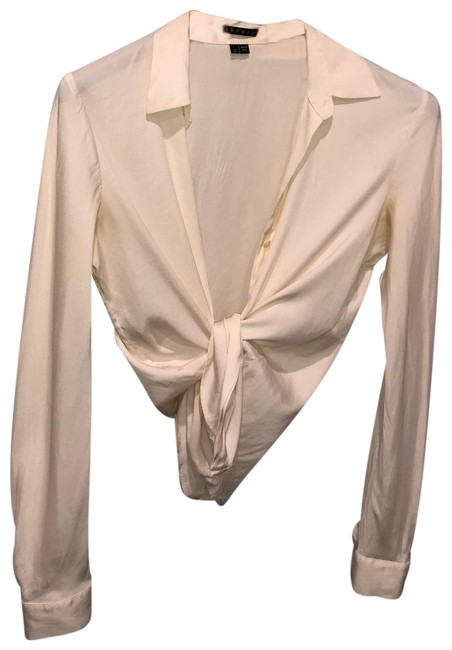 87e5901a0efc4 Theory Cream Perfect Fitted Silk Blouse Size 6 (S) - Tradesy