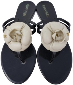 Chanel Jelly Camellia Interlocking Cc Gold Hardware Silver Hardware Black Sandals - item med img