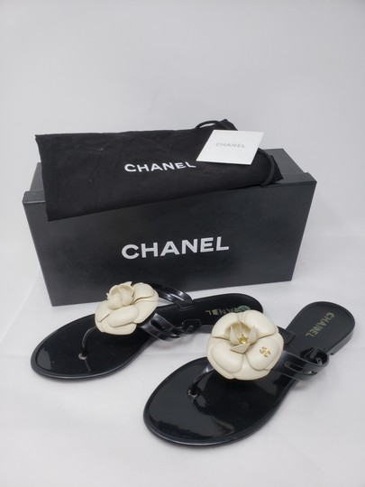 Chanel Jelly Camellia Interlocking Cc Gold Hardware Silver Hardware Black Sandals Image 1