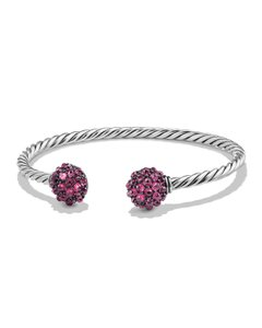 David Yurman Osetra Cable Berries Station Cuff Bracelet, Pink Rhodalite