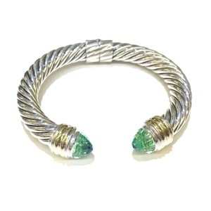 David Yurman GORGEOUS!! LIKE NEW! David Yurman 10mm 14 Karat Yellow Gold and Sterling Silver Prasiolite Hinged Cable Cuff