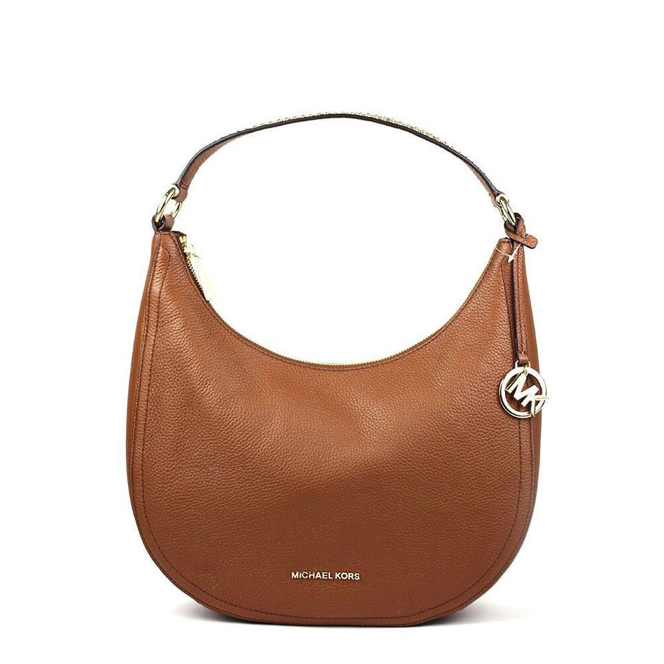 c6c73e15d597 Michael Kors Lydia Shoulder Medium 35h8gl0l6l Brown Leather Hobo Bag ...