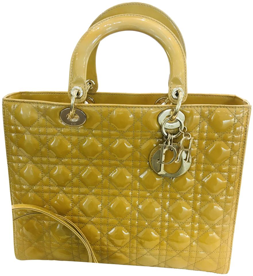 47f8bafe1d8 Dior Lady Cannage Large Mustard Patent Leather Tote - Tradesy