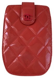 Chanel Coral Pink Quilted Patent Leather Logo CC Phone Card Case