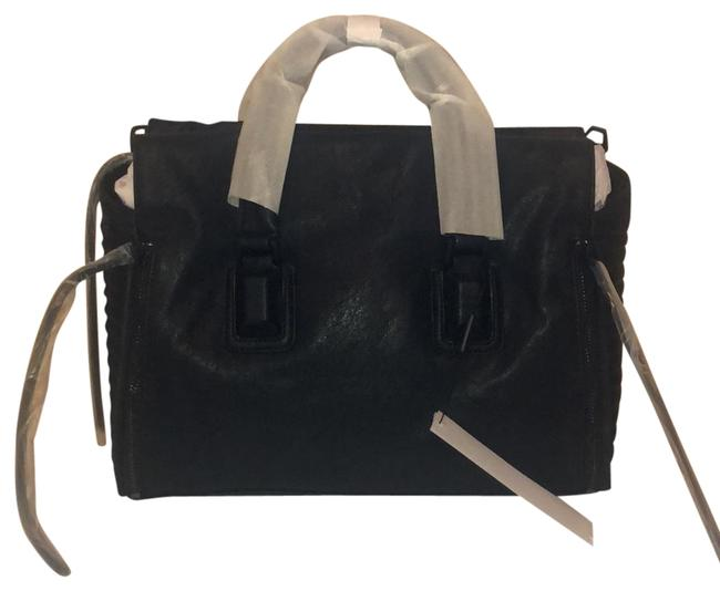Item - Duffle Black Leather Satchel