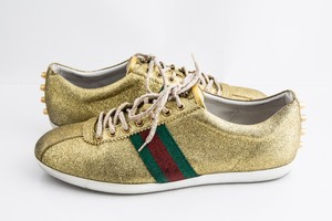 Gucci Gold Glitter Bambi Web Sneakers Shoes