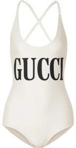 Gucci Gucci Sparkling Ivory Swimsuit with Gucci Print