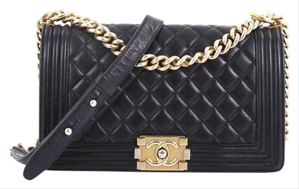 99e3dea6bf1e Chanel Classic Flap Boy Quilted Lambskin Old Medium Black Leather ...