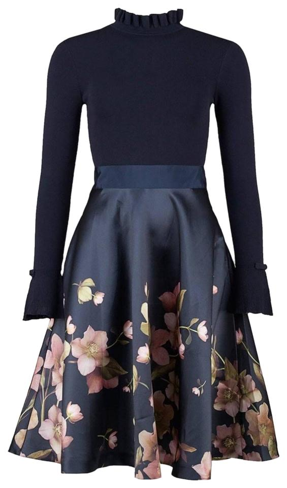 063f3a9a67f Ted Baker Navy Blue Seema Mid-length Cocktail Dress Size 10 (M ...