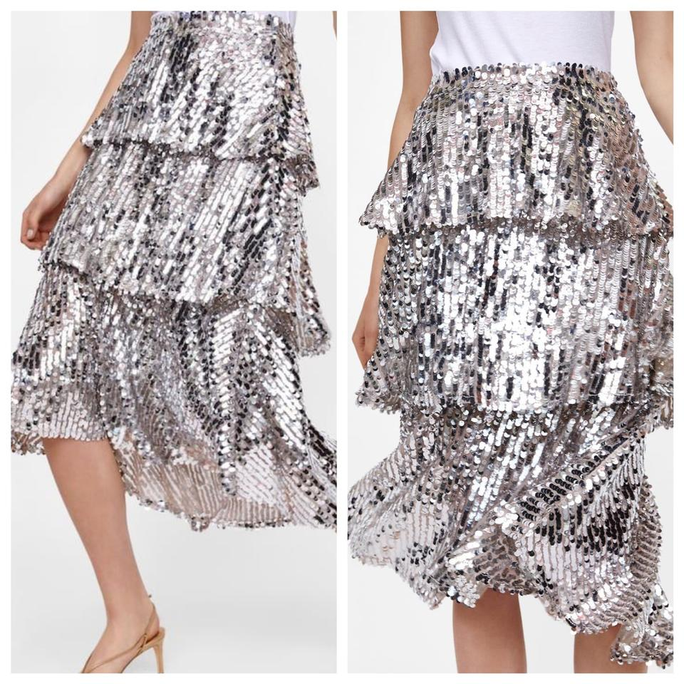 f2d9b975c5 Zara Sequins Ruffled Tiered Skirt Silver Image 0 ...