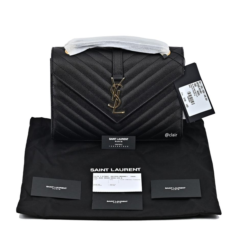 21f92481 Saint Laurent Monogram Envelope 2019 Medium Black Leather Shoulder Bag