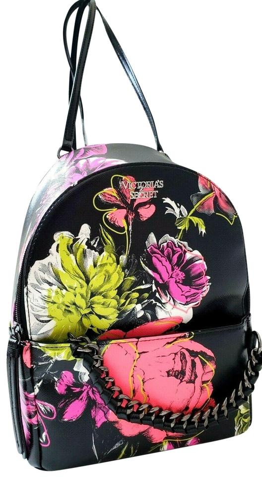 f71585f75c078 Victoria's Secret New Neon Floral Chain Flower Daily Black Faux Leather  Backpack