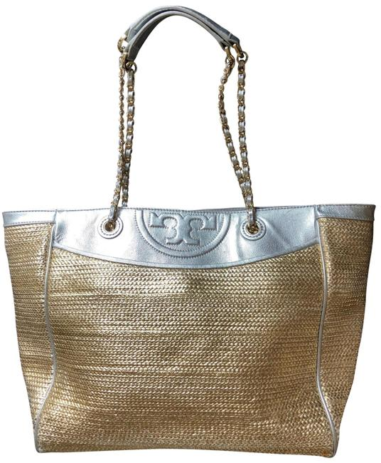 Item - Woven Gold/Silver Leather Tote
