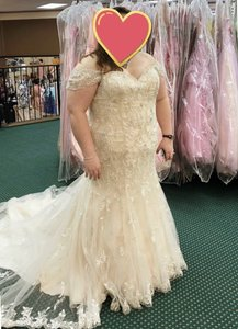 Mori Lee Ivory Over Light Gold/Champagne By Madeline Gardner - Julietta Mermaid Gown Sexy Wedding Dress Size 22 (Plus 2x)