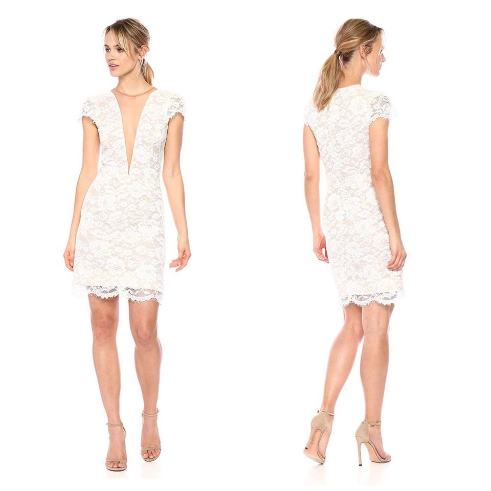 f1a887ec60c Dress the Population White Nude Lace Illusion V-neck Mid-length ...