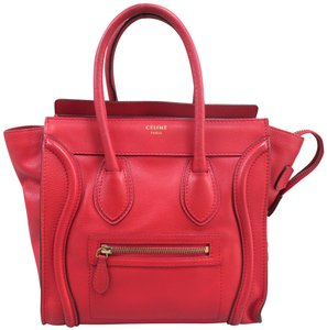 Céline Micro Luggage Calfskin Tote in Red