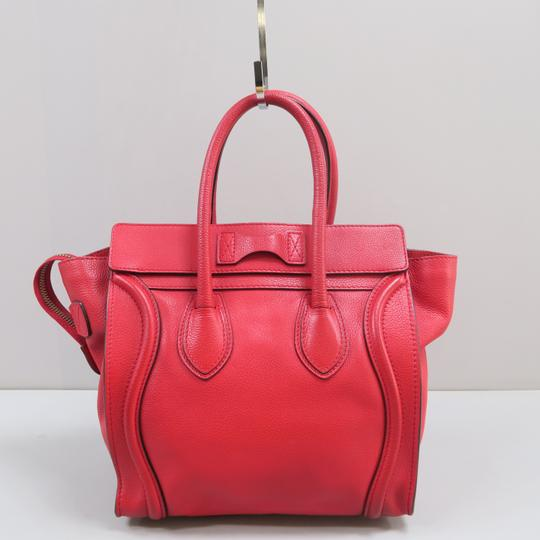 Céline Micro Luggage Calfskin Tote in Red Image 1