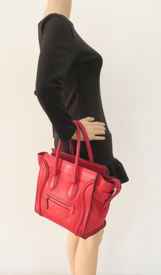 Céline Micro Luggage Calfskin Tote in Red Image 11