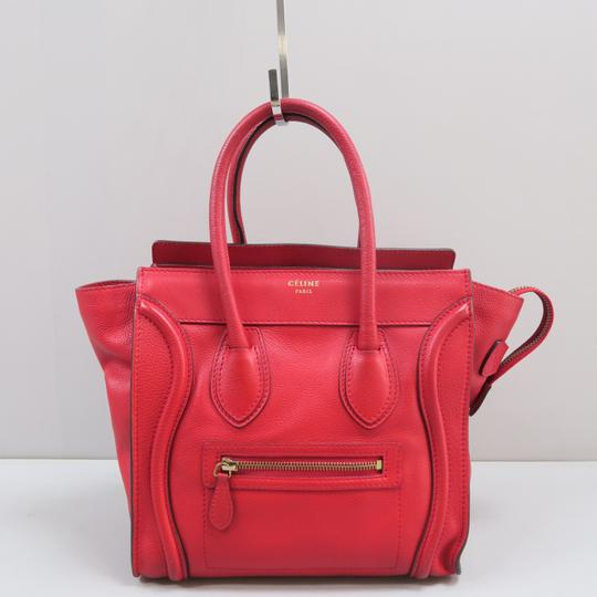 Céline Micro Luggage Calfskin Tote in Red Image 2