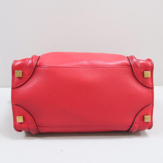 Céline Micro Luggage Calfskin Tote in Red Image 3