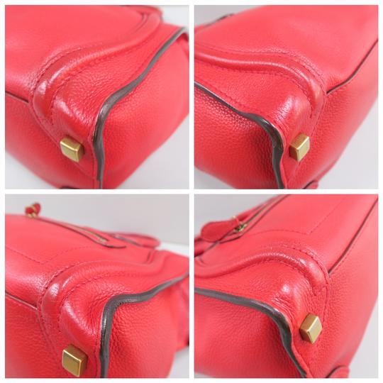 Céline Micro Luggage Calfskin Tote in Red Image 4