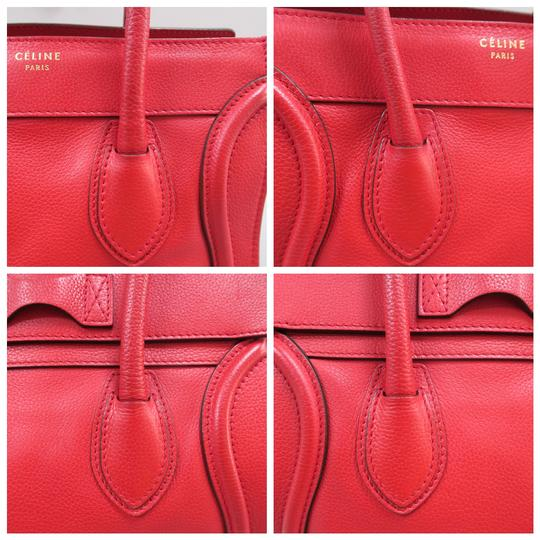 Céline Micro Luggage Calfskin Tote in Red Image 6