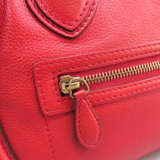 Céline Micro Luggage Calfskin Tote in Red Image 7