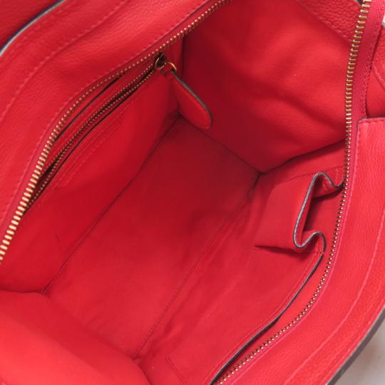 Céline Micro Luggage Calfskin Tote in Red Image 8