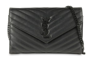 Saint Laurent Ysl Chain Monogram Flap Caviar Shoulder Bag