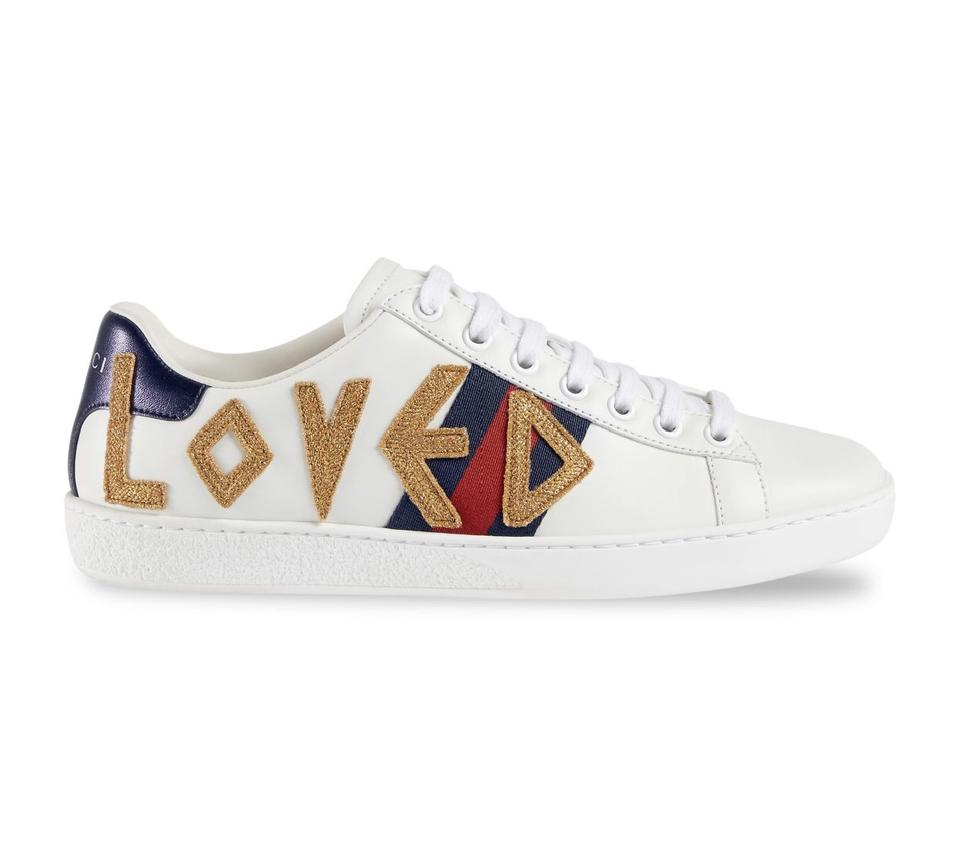 9f0cae51acb Gucci White New Ace Embroidered Leather Sneakers 8.5 Sneakers Size ...