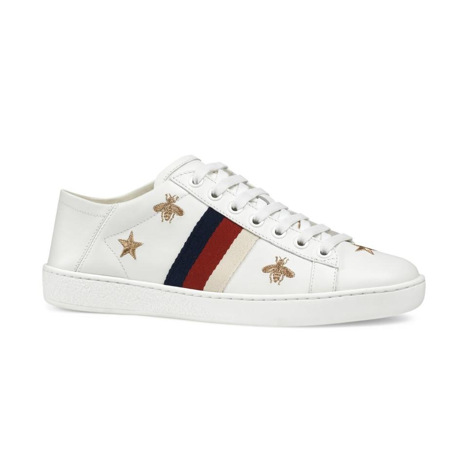 61867a8f2 Gucci White New Ace Embroidered Leather 9.5 Sneakers Size EU 39.5 ...