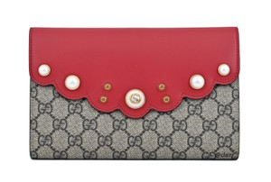 d78a5778986 Gucci Monogram Limited Edition Red Beige Ebony Clutch