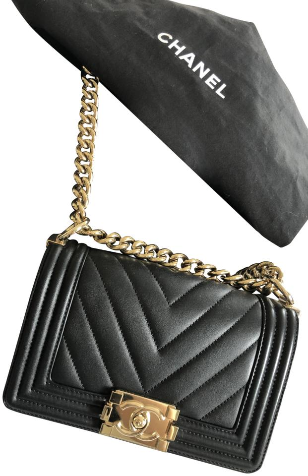 10efaa09f7e5 Chanel Boy Chevron Flap Small Chevron Gold Hw New Black Lambskin Leather  Cross Body Bag