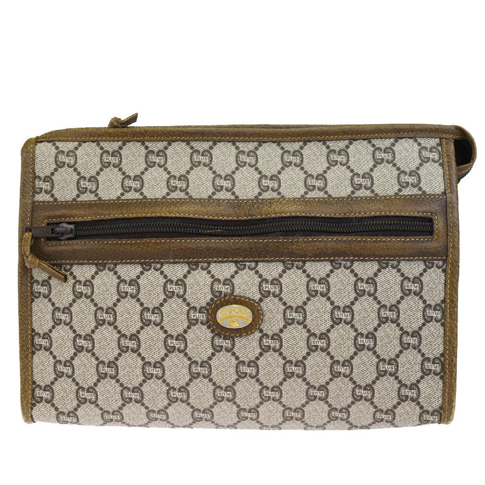 c6d9c67a9 Gucci GUCCI GG Pattern Logo Clutch Hand Bag PVC Leather Brown Italy Image 0  ...