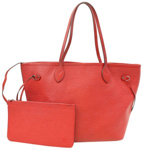 Louis Vuitton Neverfull Damier Empreinte Neverfull Neverfull Leather Neverfull Neverfull Limited Tote in Red