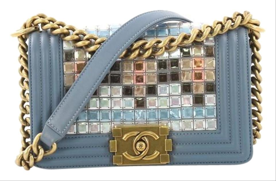 7f5b2cd60afd Chanel Classic Flap Boy Mosaic Embellished Small Blue Lambskin ...