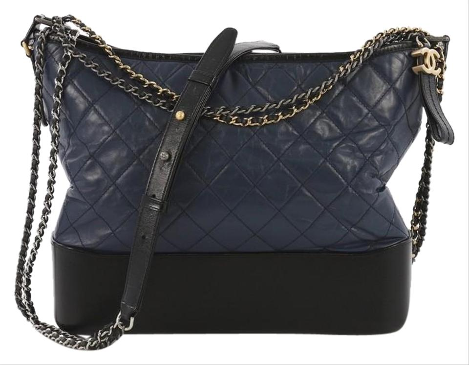 fd423ab4c1a9 Chanel Gabrielle Quilted Aged Large Blue and Black Calfskin Hobo Bag ...