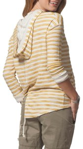 Rip Curl Cheerful Stripes Split Back Hem Dropped Shoulders Textured Soft Stripe Attached Hood Sweatshirt