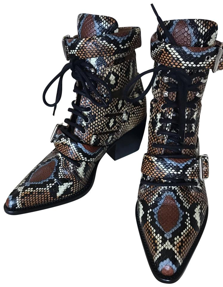 f824a702b Chloé Multicolor Rylee Embossed Python Boots Booties Size EU 39 ...
