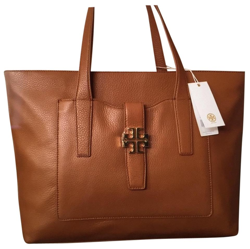 4c8f330b825 Tory Burch Meyer Plaque Bark Leather Tote - Tradesy