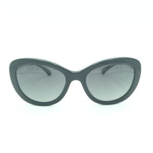 ad29904bb53 Chanel Chanel Black Pearled Polarized Cat Eyed Butterfly Sunglasses 5340-H