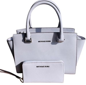 MICHAEL Michael Kors Spring Leather Silver Hardware Satchel in Lilac
