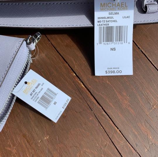 MICHAEL Michael Kors Spring Leather Silver Hardware Satchel in Lilac Image 4